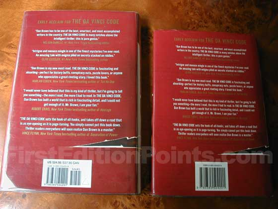 The book club edition (on the right) has a single bar code and no price information.  The