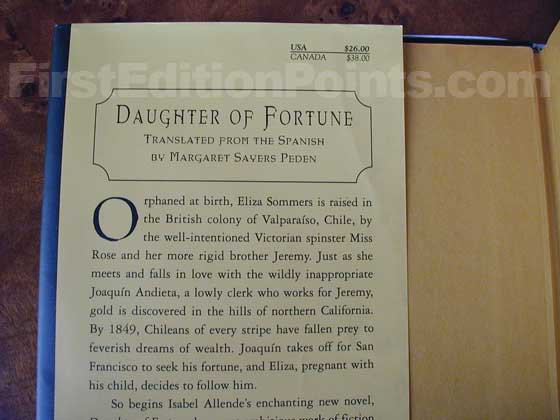 Picture of dust jacket where original $26.00 price is found for Daughter of Fortune.
