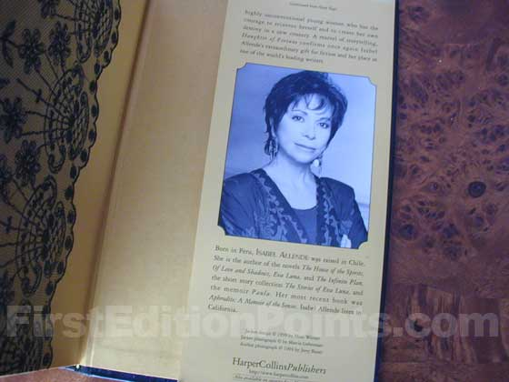 Picture of the back dust jacket flap for the first edition of Daughter of Fortune.