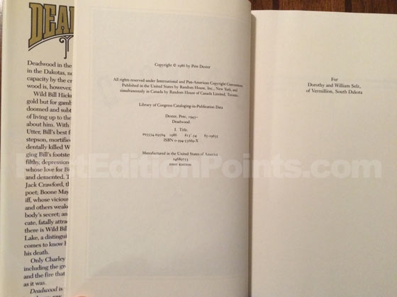 Picture of the first edition copyright page for Deadwood.