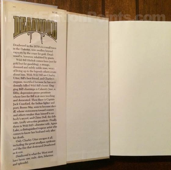 Picture of dust jacket where original $17.95 price is found for Deadwood.