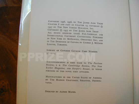 Picture of the first edition copyright page for A Death in the Family.