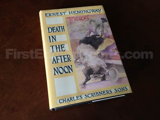 Picture of the 1932 first edition dust jacket for Death in the Afternoon.