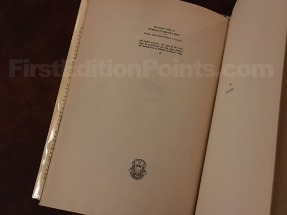 Picture of the first edition copyright page for Death in the Afternoon.