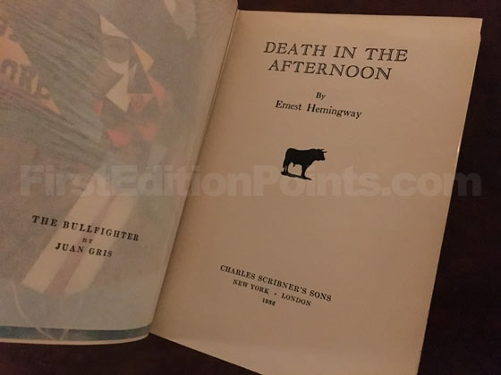 Picture of the first edition title page for Death in the Afternoon.