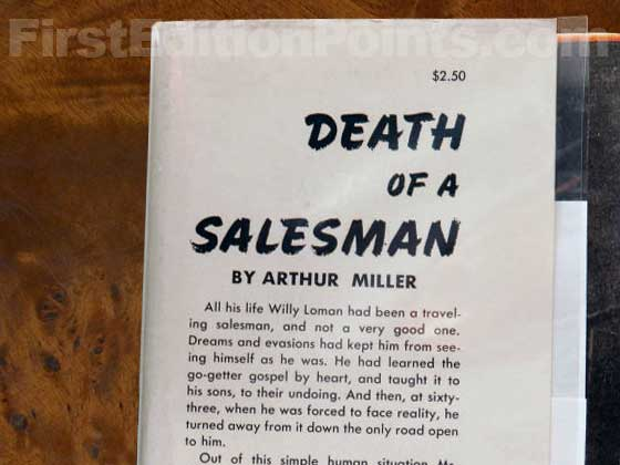 Picture of dust jacket where original $2.50 price is found for Death of a Salesman.