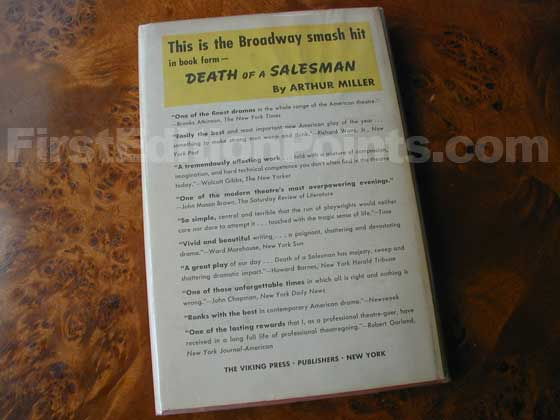Picture of the back dust jacket for the first edition of Death of a Salesman.