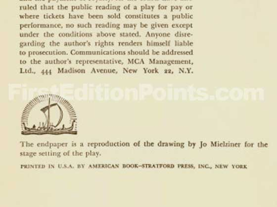 This is the bottom of the first edition copyright page for Death of a Salesman.  It