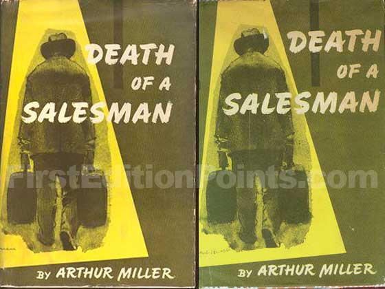 "The first issue dust jacket on the left has the ""S"" in ""SALESMAN"" within the yellow"