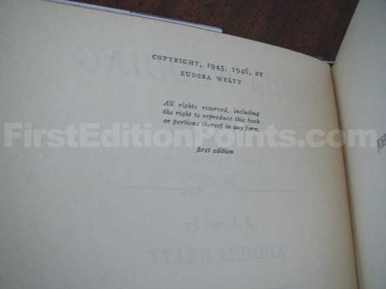 Picture of the first edition copyright page for Delta Wedding.