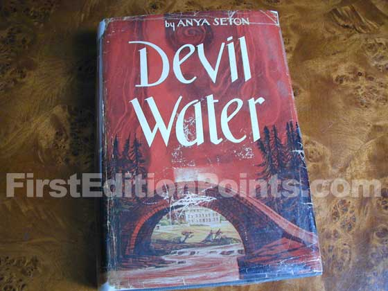 Picture of the 1962 first edition dust jacket for Devil Water.