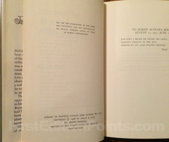 Picture of the first edition copyright page for Do Androids Dream of Electric Sheep.