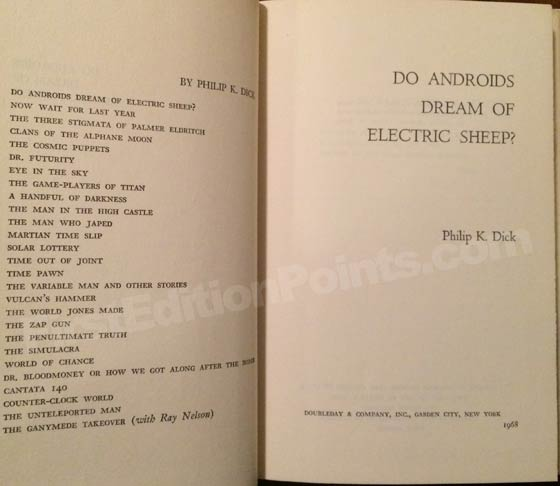 Picture of the first edition title page for Do Androids Dream of Electric Sheep.