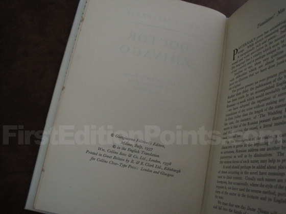 Picture of the first edition copyright page for Doctor Zhivago (UK).