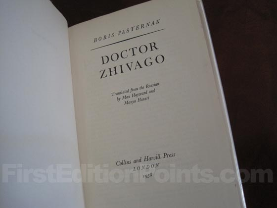 Picture of the first edition title page for Doctor Zhivago (UK).