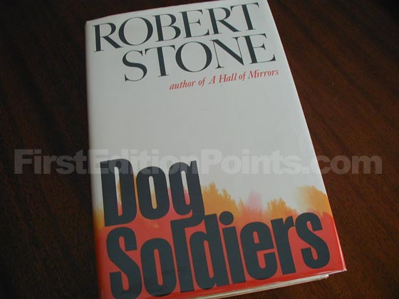 Picture of the 1974 first edition dust jacket for Dog Soldiers.