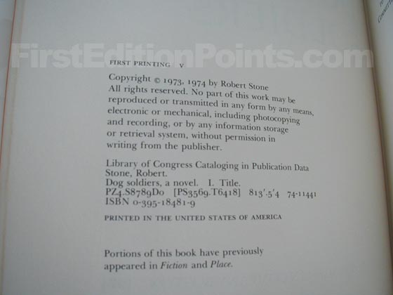 Picture of the first edition copyright page for Dog Soldiers.
