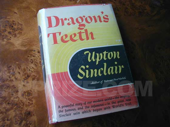 Picture of the 1942 first edition dust jacket for Dragon's Teeth.