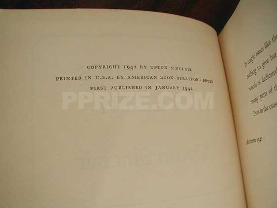 Picture of the first edition copyright page for Dragon's Teeth.