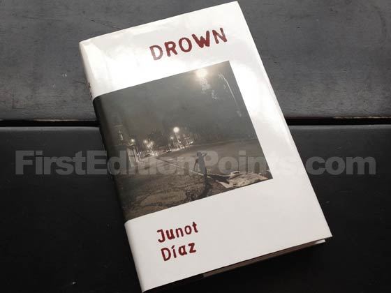Picture of the 1996 first edition dust jacket for Drown. Photo courtesy of Bryan Fr