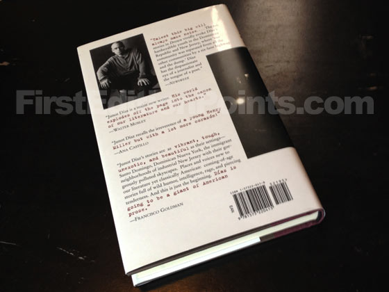 Picture of the back dust jacket for the first edition of Drown. Photo courtesy of Bryan