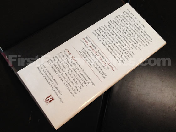 Picture of the back dust jacket flap for the first edition of Drown. Photo courtesy of