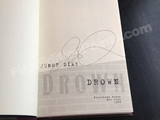 Picture of the first edition title page for Drown. Photo courtesy of Bryan France.
