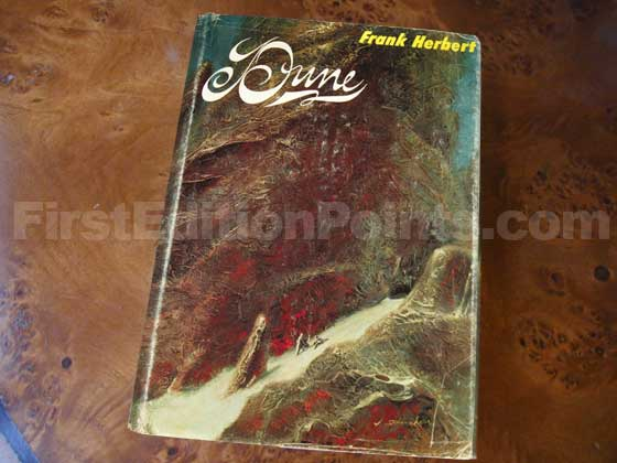 Picture of the 1965 first edition dust jacket for Dune.
