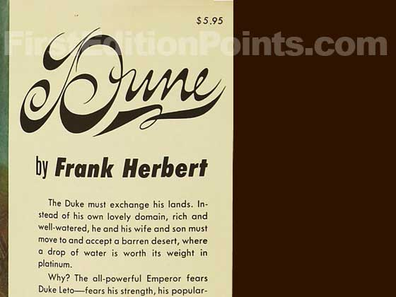 Picture of dust jacket where original $5.95 price is found for Dune.