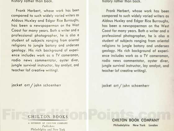 The flap on the left is from the first issue dust jacket.  The flap on the right is from