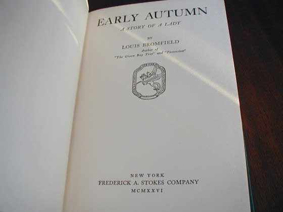 Picture of the first edition title page for Early Autumn.