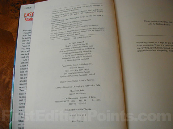 Picture of the first edition copyright page for Easy In The Islands.