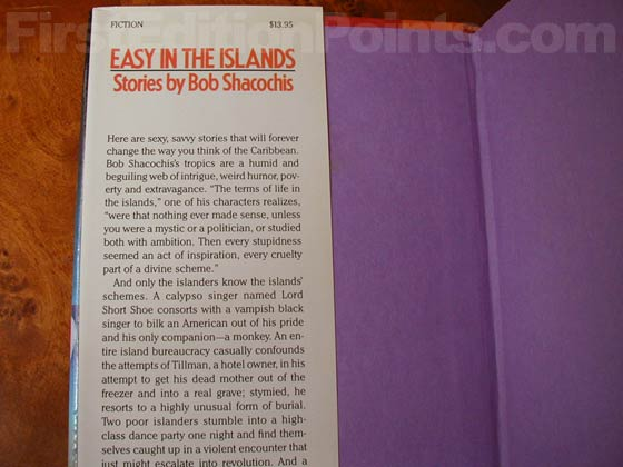 Picture of dust jacket where original $13.95 price is found for Easy In The Islands.
