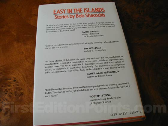 Picture of the back dust jacket for the first edition of Easy In The Islands.