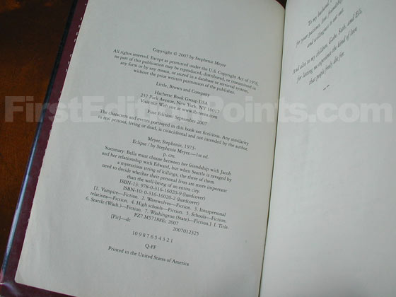 Picture of the first edition copyright page for Eclipse.