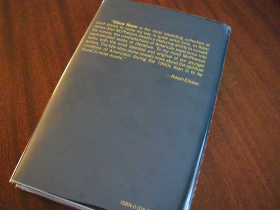 Picture of the back dust jacket for the first edition of Elbow Room.