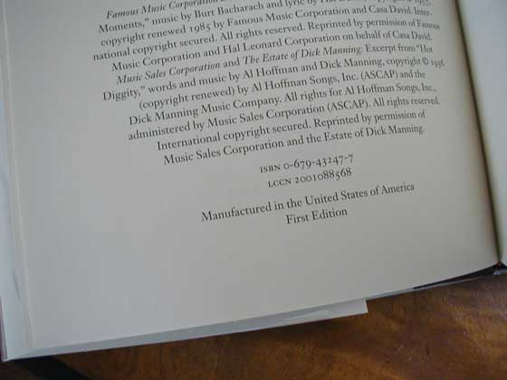 Picture of the first edition copyright page for Empire Falls.