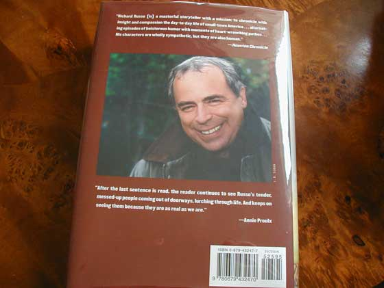 Picture of the back dust jacket for the first edition of Empire Falls.