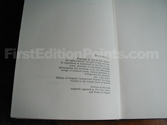 Picture of the first edition copyright page for End Zone.