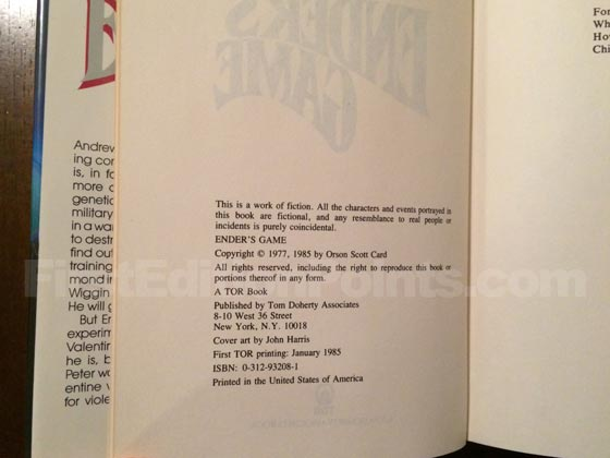 Picture of the first edition copyright page for Ender's Game.