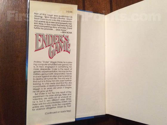 Picture of dust jacket where original $13.95 price is found for Ender's Game.