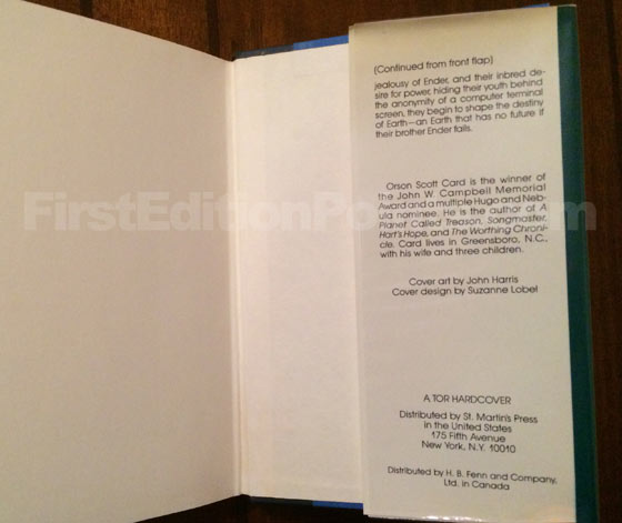 Picture of the back dust jacket flap for the first edition of Ender's Game.