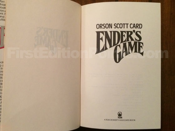 Picture of the first edition title page for Ender's Game.