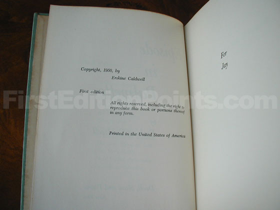 Picture of the first edition copyright page for Episode in Palmetto.
