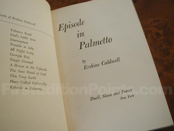 Picture of the first edition title page for Episode in Palmetto.