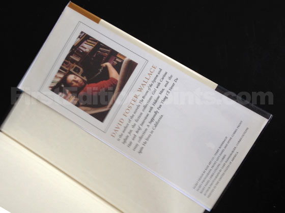 Picture of the back dust jacket flap for the first edition of Everything and More. Photo