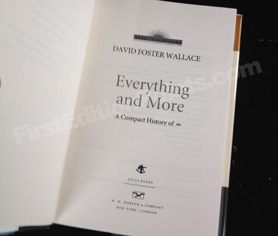 Picture of the first edition title page for Everything and More. Photo courtesy of Bryan