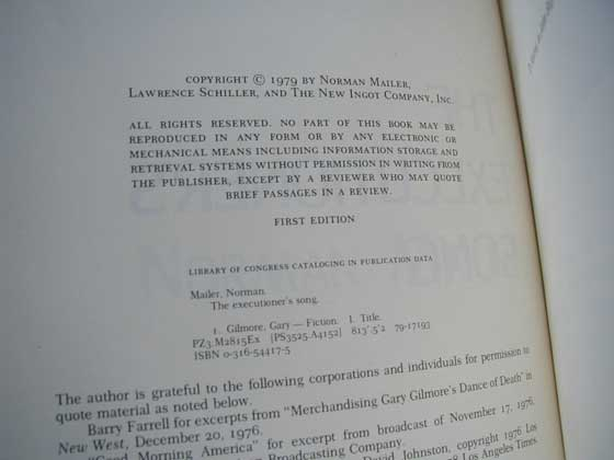 Picture of the first edition copyright page for The Executioner's Song.