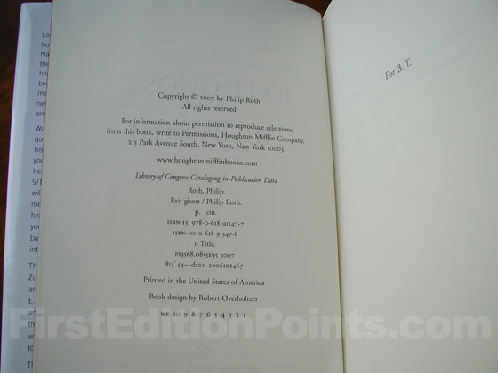 Picture of the first edition copyright page for Exit Ghost.