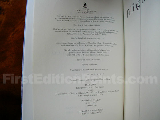 Picture of the first edition copyright page for Falling Man.